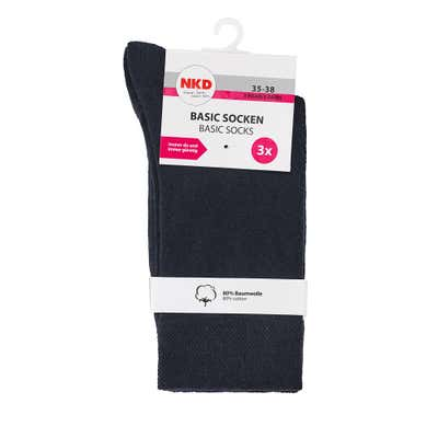 Socken mit bequemem Bündchen, 3er Pack