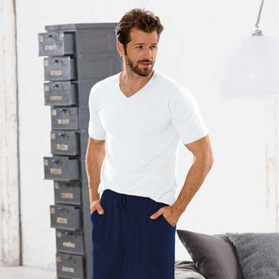 Herren-T-Shirt mit V-Ausschnitt, 2er-Pack