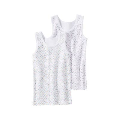 Mädchen-Unterhemd mit bunten Punkten, 2er-Pack