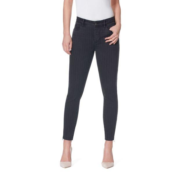 Damen-Stooker-Jeans mit Streifen-Musterung