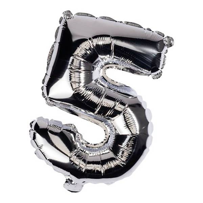 Zahlen-Ballon aus Silberfolie Nr. 5, ca. 32cm