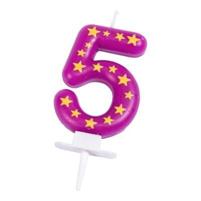 Zahlenkerze mit Sternenmuster, Nr. 5