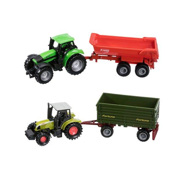 Siku Spielzeug-Traktor mit Anhänger, ca. 17cm