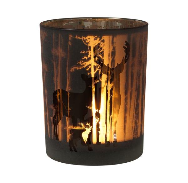 Glas mit herbstlichem Wild-Design, 10x12,5cm