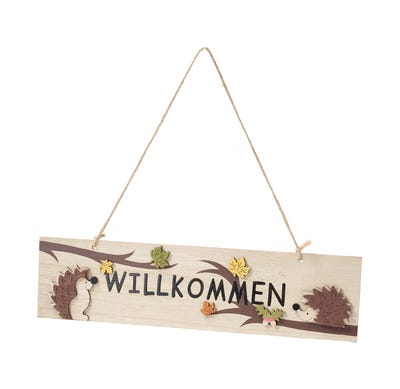 Willkommens-Schild mit süßen Igeln, ca. 39x10x1cm