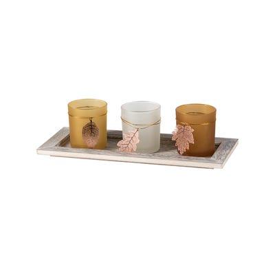 Teelichthalter mit Tablett, ca. 33x14x10cm