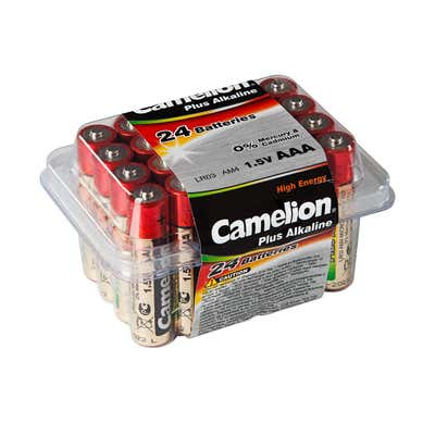 Camelion Batteriebox mit 24 AAA-Batterien
