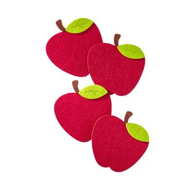 Filzuntersetzer in Apfel-Form, ca. 13x14cm, 4er Pack