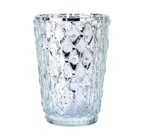 Teelichtglas in Kristall-Optik, ca. 8x11cm