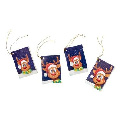 Geschenkanhänger mit süßem Rentier, ca. 6x8cm, 4er Pack