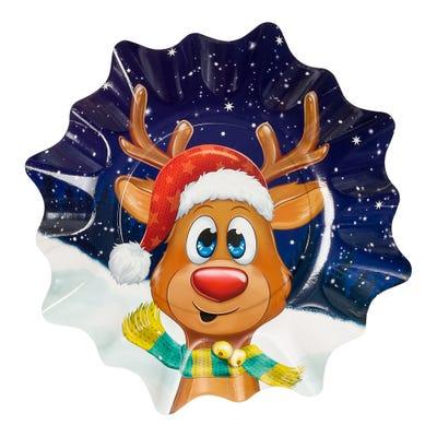 Weihnachtsteller mit süßem Rentier, Ø ca. 27cm, 3er Pack