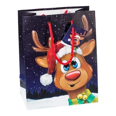 Geschenktasche mit süßem Rentier, ca. 18x10x23cm