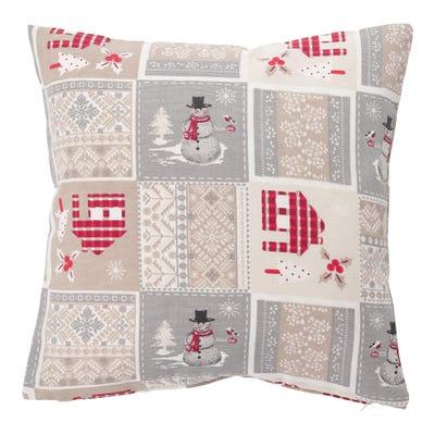 Kissenhülle mit Patchwork-Weihnachtsmotiv, ca. 40x40cm