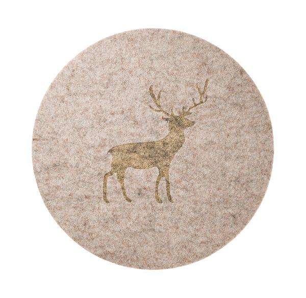 Filz-Platzset mit majestätischem Hirsch-Motiv, Ø ca. 38cm