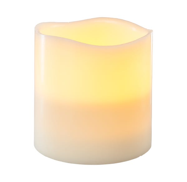 3-Docht LED-Kerze XL aus echtem Wachs, ca. 15x15cm