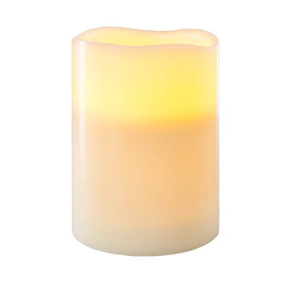 3-Docht LED-Kerze XXL mit Flackerfunktion, ca. 15x20cm