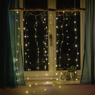 LED-Lichtervorhang mit Sterndeko, ca. 80cm