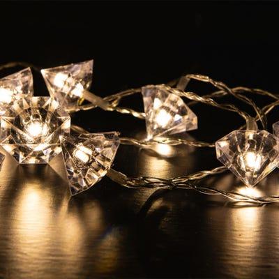 LED-Lichterkette mit funkelnden Diamanten, ca. 165cm