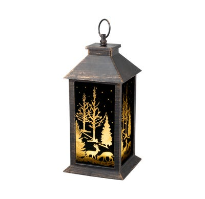 LED-Motiv-Laterne mit traumhaftem Winter-Thema, ca. 14x14x30cm