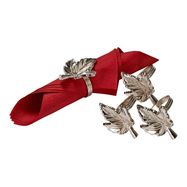 Serviettenringe mit Blätter-Motiv, Ø ca. 4cm, 4er Pack