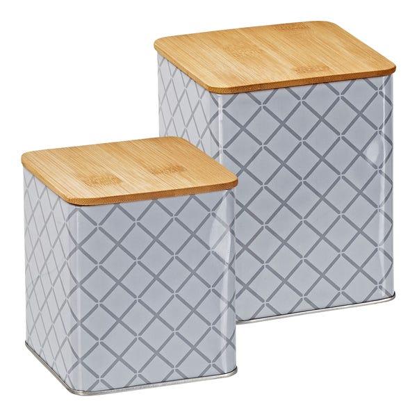 Vorratsdosen mit Bambusdeckel, 2er Pack