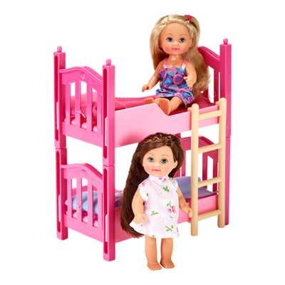 Simba Evi Love Stockbett mit 2 Puppen