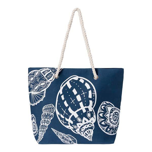 Strandtasche mit Muschel-Motiven, ca. 56x39cm