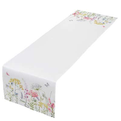 Tischläufer mit lebhaftem Blumenmuster, ca. 40x140cm