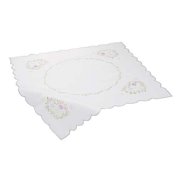 Mitteldecke mit Blumen-Stickereien, ca. 80x80cm