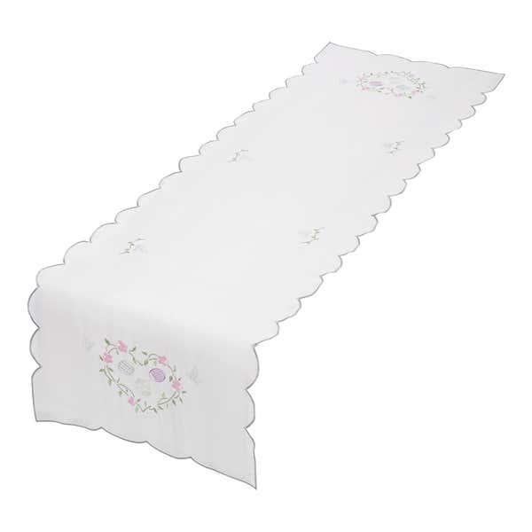 Tischläufer mit schönen Blumen-Stickereien