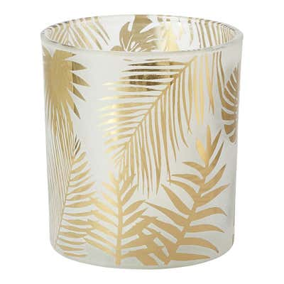 Kerzenglas mit goldenen Blättern, ca. 7x8cm