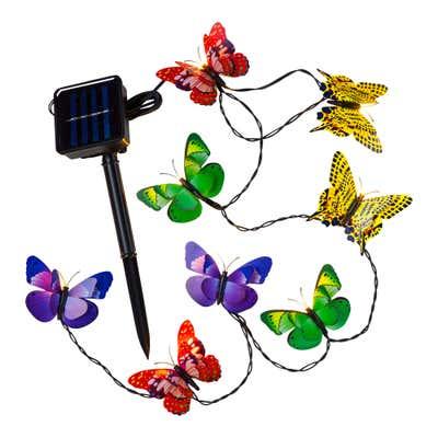 Solar-Lichterkette mit wunderschönen Schmetterlingen, ca. 3,2m