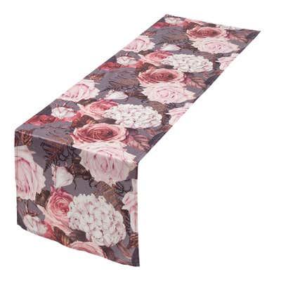 Tischläufer in Winterrosen-Design, ca. 40x140cm