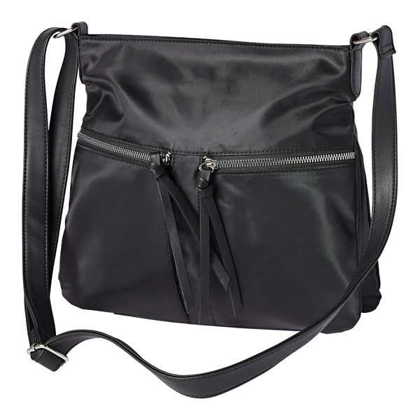 Damen-Handtasche mit 2 Reißverschluss-Vorfächern