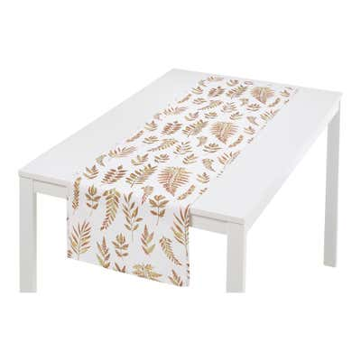 Tischläufer mit prachtvollem Blätter-Design, ca. 40x140cm