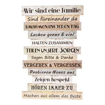 Holzschild mit Familienregeln, ca. 51x33cm