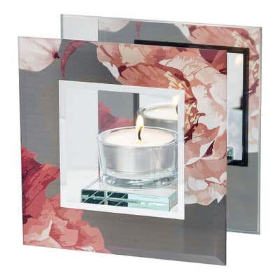 Kerzenhalter mit wunderschönem Blumen-Design, ca. 12x12x6cm