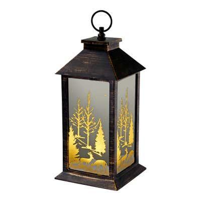 LED-Motiv-Laterne mit winterlichem Motiv, ca. 14x14x30cm