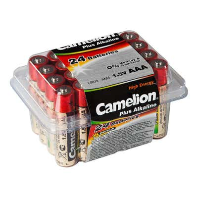 Camelion Batteriebox mit AAA-Batterien. 24er-Pack