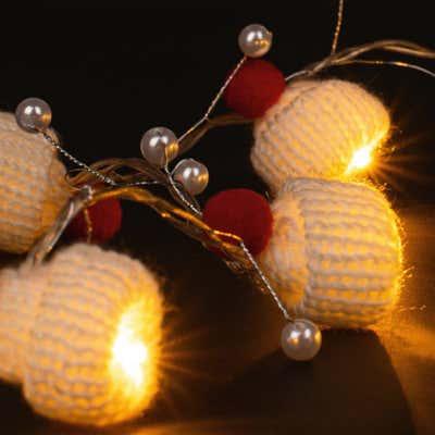 LED-Lichterkette mit Weihnachtsmützen, ca. 120cm