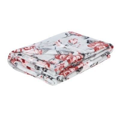 Fleece-Decke mit Rosenmotiven, ca. 130x170cm
