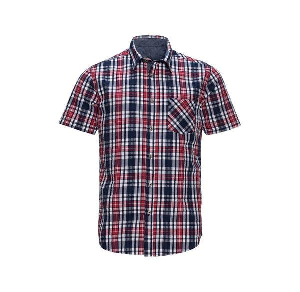 Herren-Seersucker-Hemd mit 1 Brusttasche