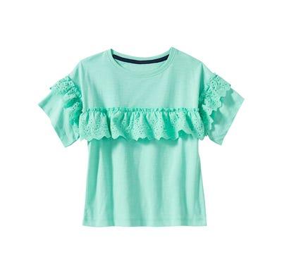 Mädchen T-Shirt mit Spitzen-Bordüre