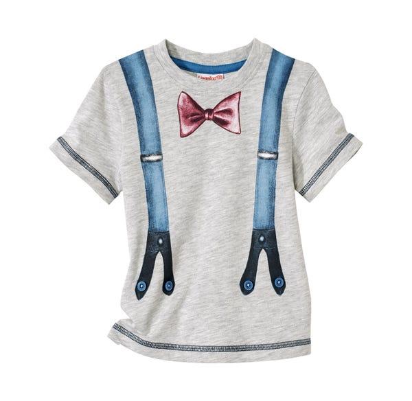 Baby-Jungen-Shirt mit Hosenträgern-Aufdruck