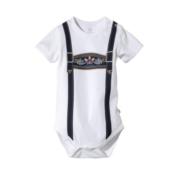 Baby-Jungen-Trachten-Body mit Hosenträger-Druck