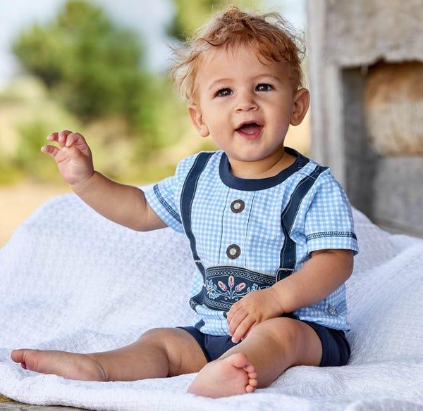 Baby-Jungen-Trachten-Strampler in Lederhosen-Optik
