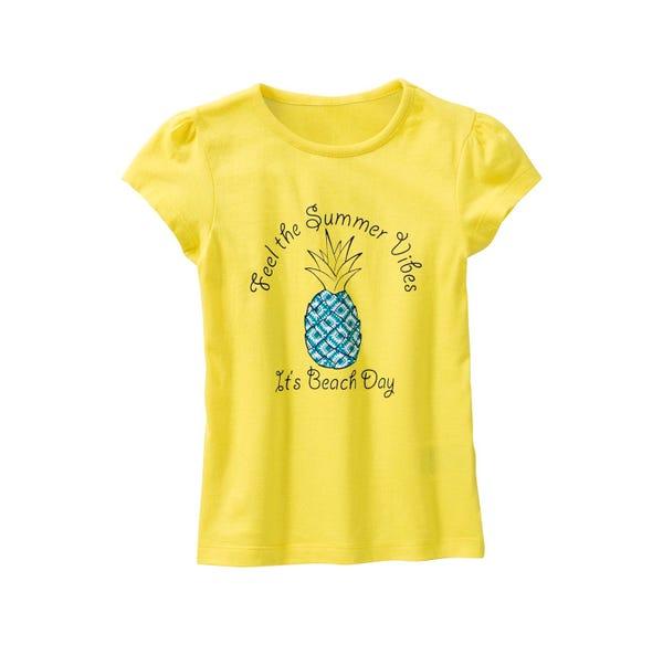 Mädchen-T-Shirt mit Ananas-Frontaufdruck