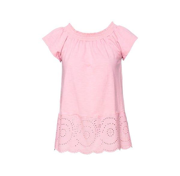 Damen-T-Shirt mit Hohlsaum-Stickerei