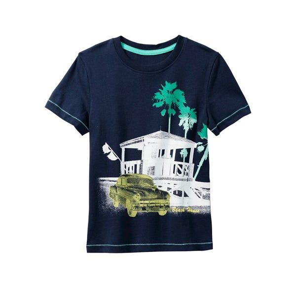 Jungen-T-Shirt mit Auto-Frontaufdruck