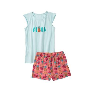 Mädchen-Shorty mit Aloha-Frontaufdruck, 2-teilig
